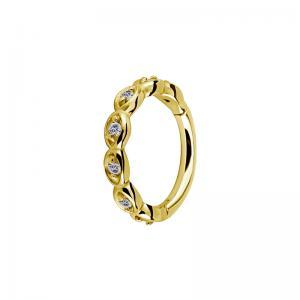 Ring till piercing - Clicker med Vit Kristall - Guld