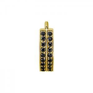 GuldRing - 24k Guld plätering med svarta kristaller