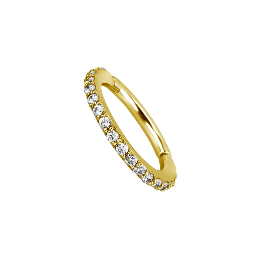 Guldig Clicker Ring till piercing - 24k pvd guld - Vita kristaller