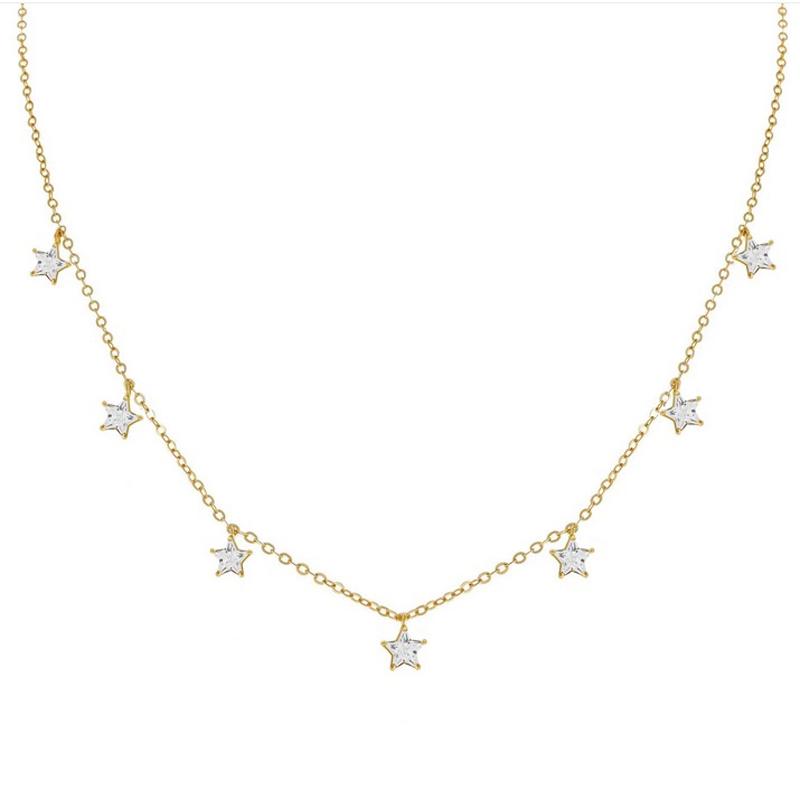 Guldhalsband - Choker - Stjärnor i kristall