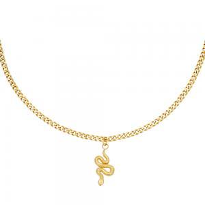 Guldhalsband i kirurgiskt stål - Orm - 18k-guldplätering