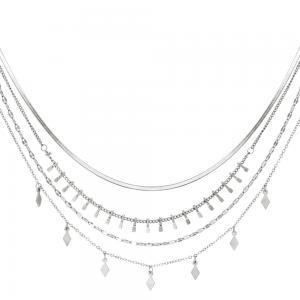 Silverhalsband med flera kedjor - Kirurgiskt stål