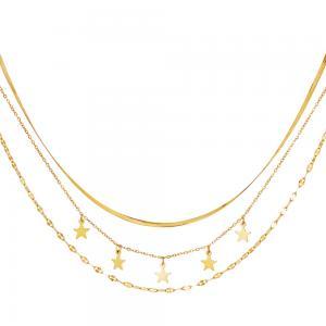Guldhalsband med flera kedjor - Kirurgiskt stål - 18k-guldplätering