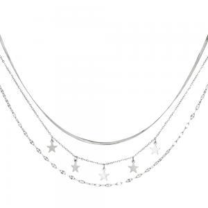 Silverhalsband med flera kedjor - Kirurgiskt stål - Stjärnor
