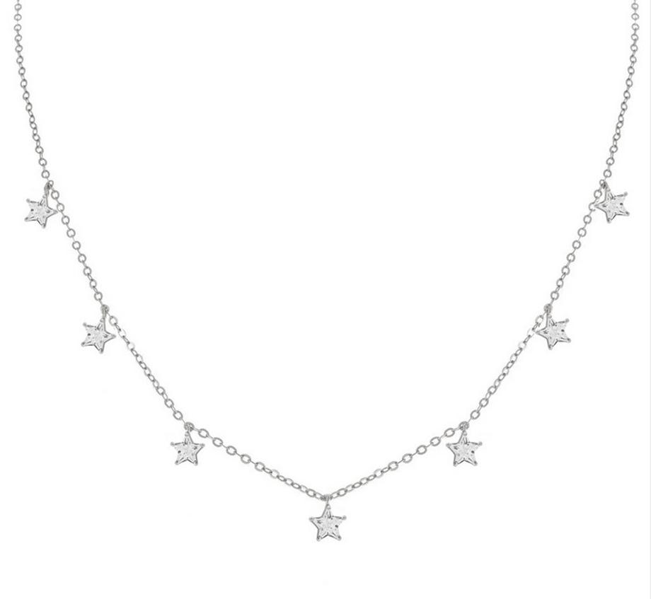 Silverhalsband - Choker - Stjärnor i kristall