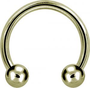Guldig hästsko ring till piercing i titan