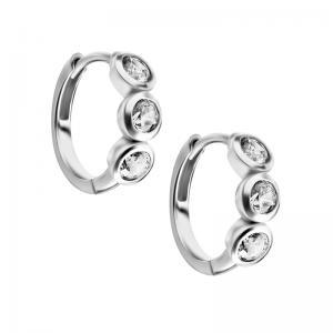 Huggie örhängen - Creoler i kirurgiskt stål med vita kristaller