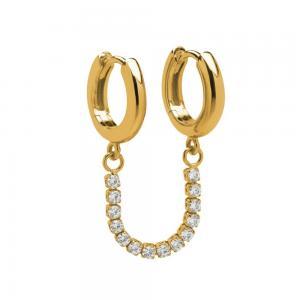Huggie Hoops - Creoler Ringar med kedja - Guld med kristaller
