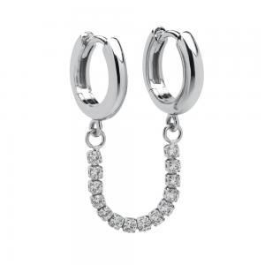 Huggie Hoops - Creoler Ringar med kedja - Silver med kristaller