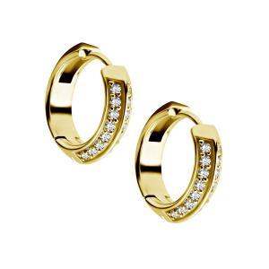 Guldringar - Örhängen i kirurgiskt stål med kristaller - 24k guldplätering