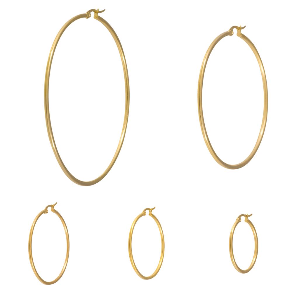 Stora Hoops-Ringar - Guldiga Creoler i kirurgiskt stål