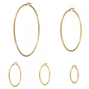 Stora Hoops-Ringar - Guld - Creoler i kirurgiskt stål
