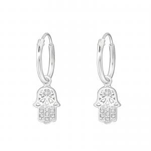 Ringar 10 mm i äkta silver med kristaller - Fatima
