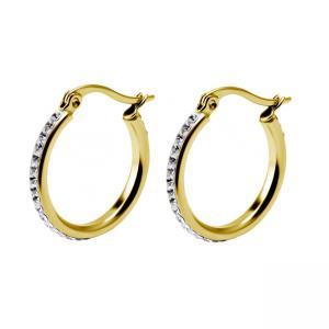 Kristall Creoler - 20 mm -  Ringar i guldigt kirurgiskt stål