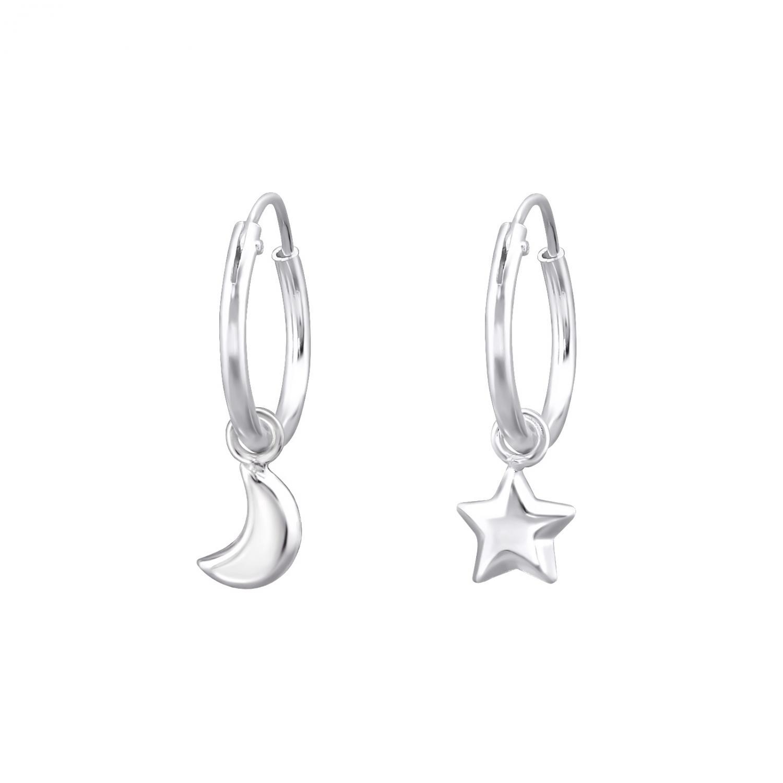 Hoops ringar 10 mm i äkta silver- Måne & Stjärnor