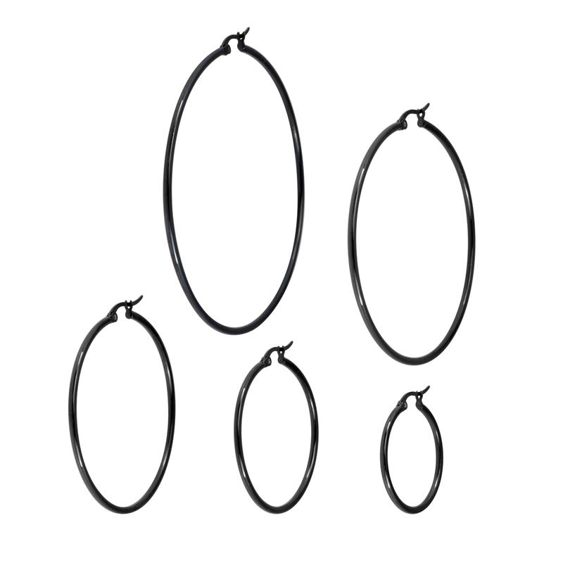 Stora Hoops-ringar - Svarta örhängen i kirurgiskt stål