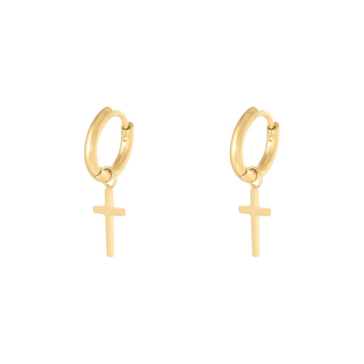 Huggie örhängen - Guldiga Creoler i kirurgiskt stål - Kors