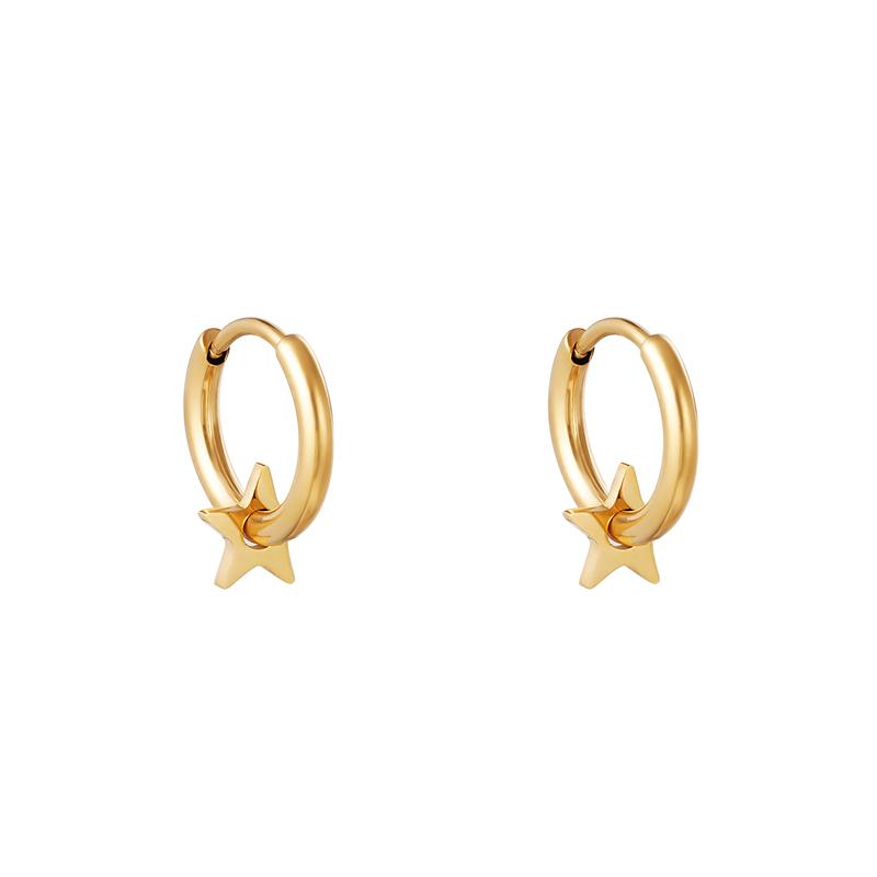 Huggie örhängen - Guldiga Creoler i kirurgiskt stål - Stjärna