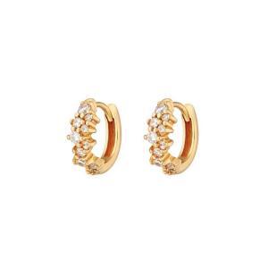 Huggie Hoops-Örhängen - 18k-guldpläterade Ringar med kristaller