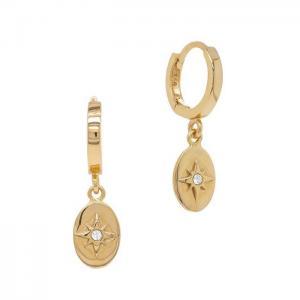 Huggie örhängen - Guldringar - Hoops med hängsmycke - Stjärnor