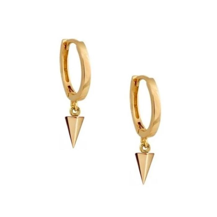Huggie örhängen - Guldringar - Hoops med hängsmycke - Pilspets