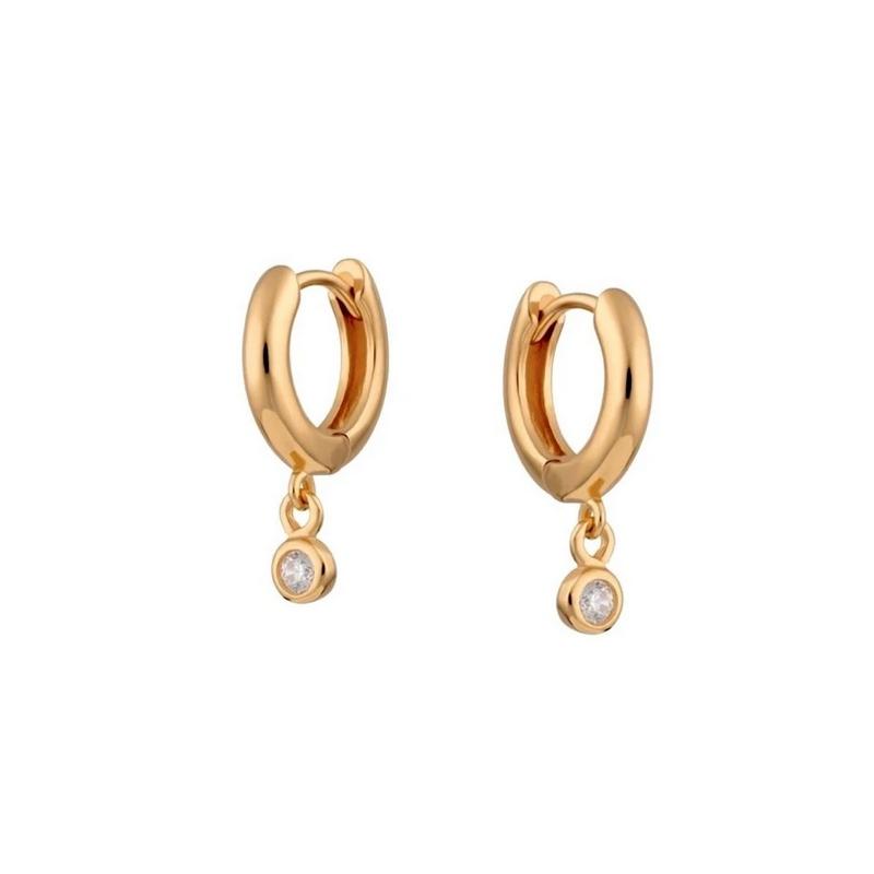 Huggie örhängen - Guldringar - Hoops med hängande kristall