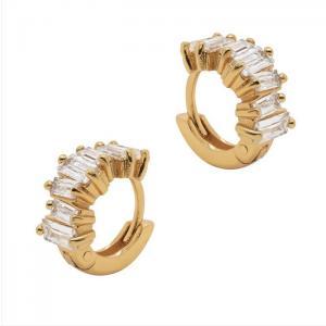 Huggie örhängen - Guldringar - Hoops med rektangulära vita kristaller