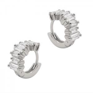 Huggie örhängen - Hoops Ringar med rektangulära vita kristaller