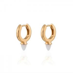 Huggie örhängen - Guldringar - Hoops med vita opaliter