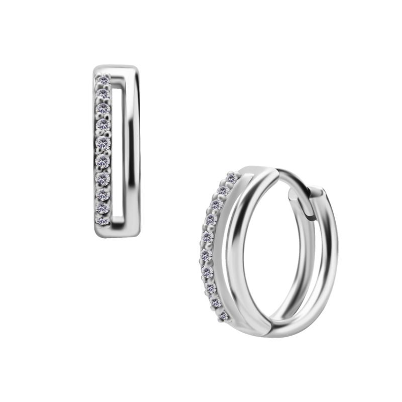 Huggie örhängen - Dubbla ringar - Creoler i kirurgiskt stål med vita kristaller
