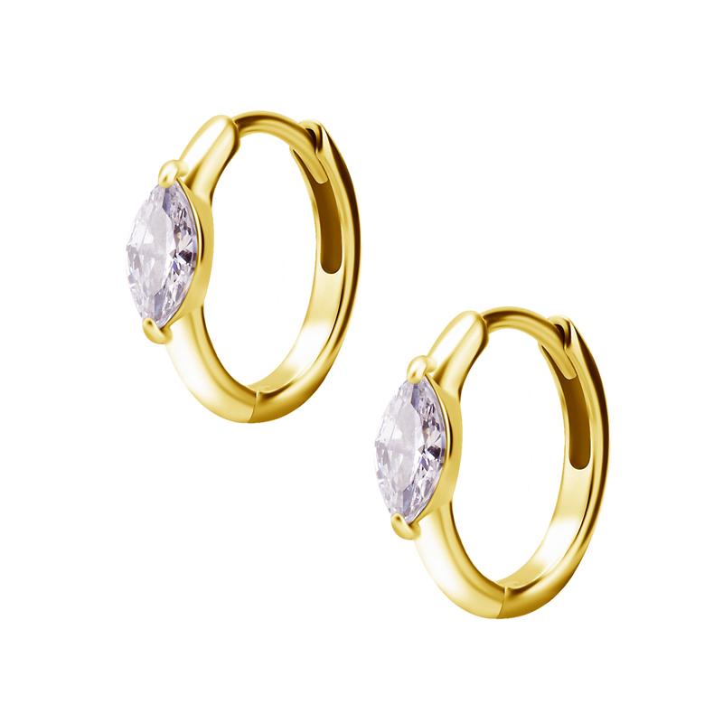 Huggie örhängen - Creoler i kirurgiskt stål med vit kristall - Guld