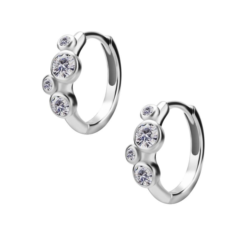 Huggie örhängen - Creoler i kirurgiskt stål - Fyra vita kristaller