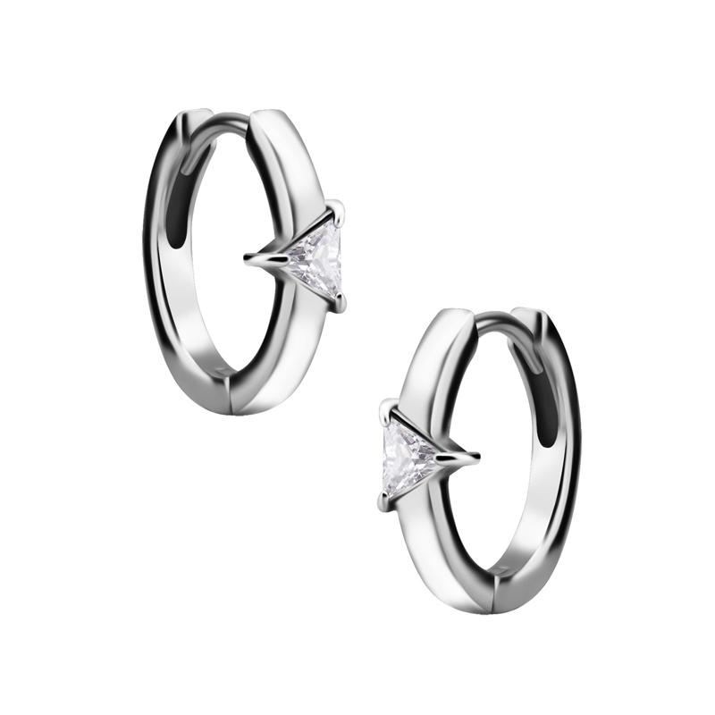 Huggie örhängen - Creoler i kirurgiskt stål - Trekantig vit kristall
