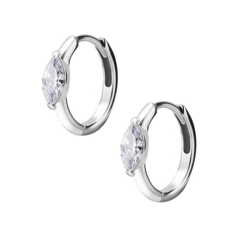 Huggie örhängen - Creoler i kirurgiskt stål - Vit kristall