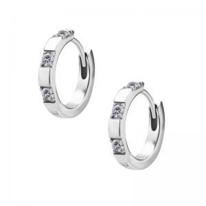 Huggie örhängen - Creoler i kirurgiskt stål - Tre vita kristaller