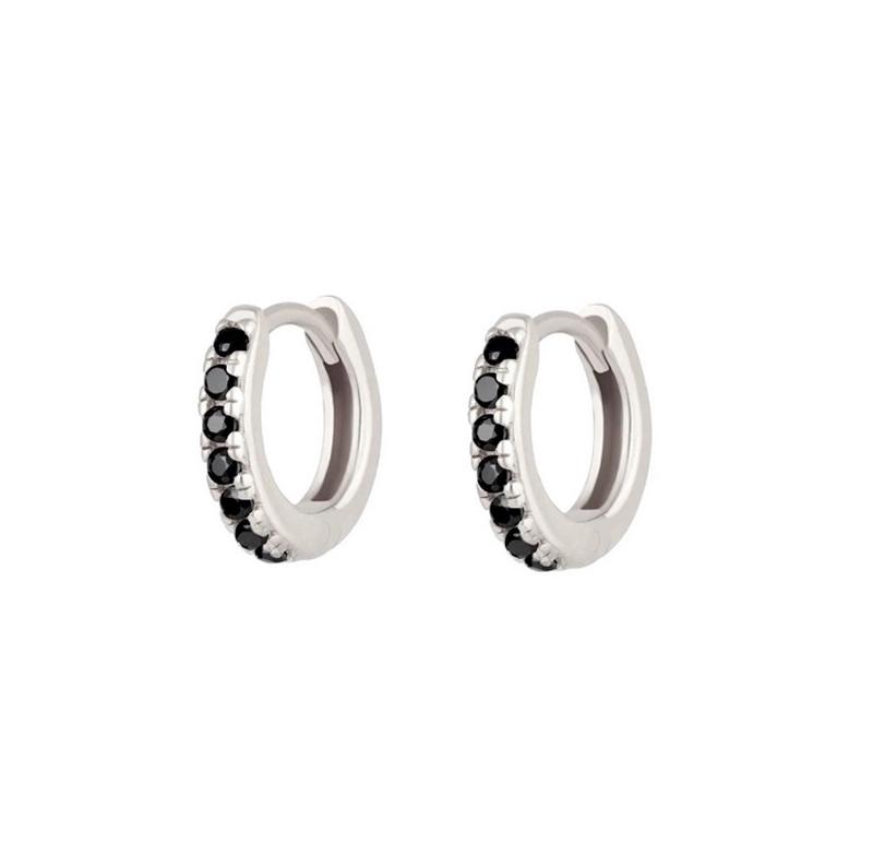 Huggie hoops - Silverörhängen - Små ringar med svarta stenar