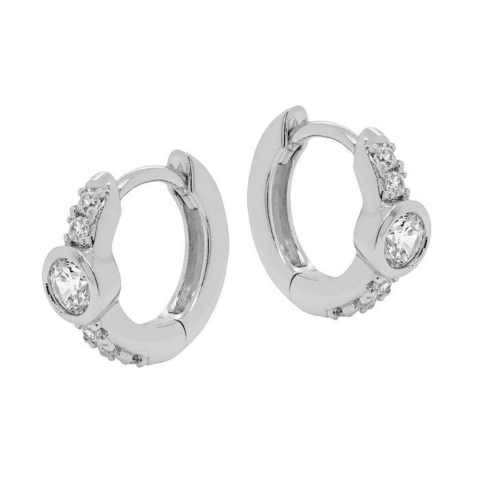 Huggie hoops - Silverörhängen - vita kristaller