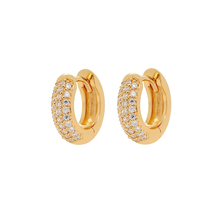 Huggie örhängen - Guldringar - Breda hoops med kristaller