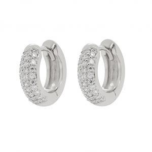 Huggie hoops - Silverörhängen - Breda hoops med kristaller