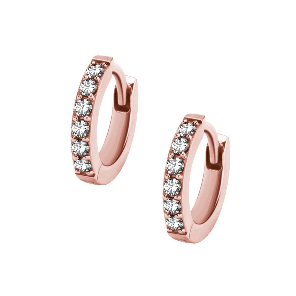 Hoops-örhängen - Smala ear huggies med kristaller - Roséguld