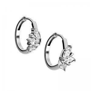 Silverringar - Hoops i kirurgiskt stål med kristaller
