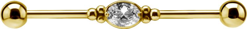 Industrial smycke - Barbell Stav med Kristall - Pvd Guld