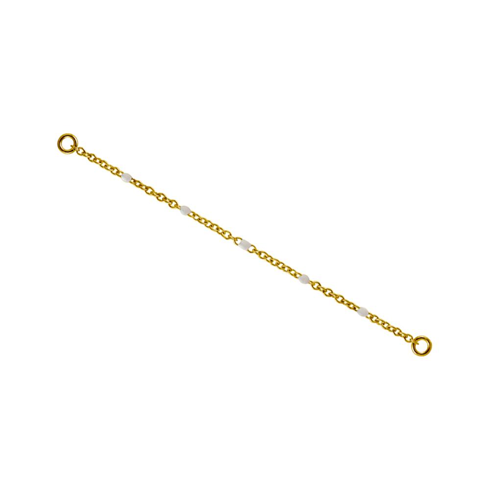 Kedja till örhängen - Guld - Kirurgiskt stål med vita pärlor