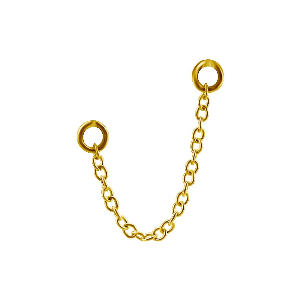 Kedja till örhängen - Guld - Kirurgiskt stål