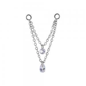 Dubbel Kedja till örhängen - Silvrigt kirurgiskt stål - Vita kristaller
