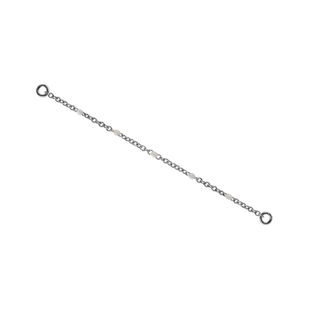 Kedja till örhängen - Silvrigt kirurgiskt stål med vita stenar