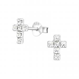 Silverörhängen - Kors med kristaller