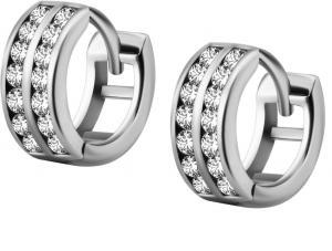 Huggie Hoops - 7 mm Creoler Ringar i kirurgiskt stål med vita kristaller