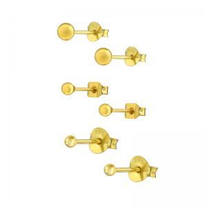 3 par Studs-örhängen - Kulor Guld