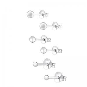 3 par Studs-örhängen - Kulor Silver